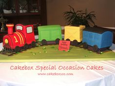 "Fondant covered train cake for a little boy turning 1. This was definitely a challenge but fun to do and I'm happy with the end result. Cakes were 10"", 8"", 6"", 8""...fed about 60."