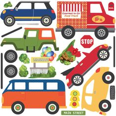 Adventure Car Wall Decals, Red Yellow Blue Orange Green, Repositionable Eco-friendly Fabric Wall Decal Stickers with Straight Road Wall Decal Sticker, Wall Stickers, Car Decal, Blue Playroom, Red Beetle, Green Jeep, Adventure Car, Green And Orange, Yellow