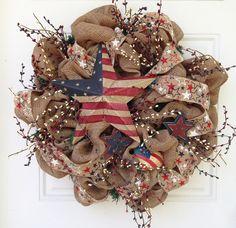 Burlap+Patriotic+Wreath+by+ViennaSparkleWreaths+on+Etsy,+$125.00