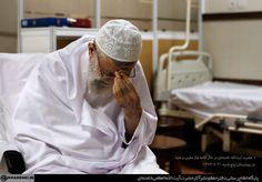 Rahbar, Iran's leader, Sayed Ali khamenei praying in the hospital