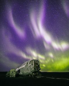 Northern Lights over the #Sólheimasandur plane wreck. Photo: @ambrosee