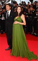 Angeline Jolie at the Kung Fu Panda premiere - Green Greek goddess gown