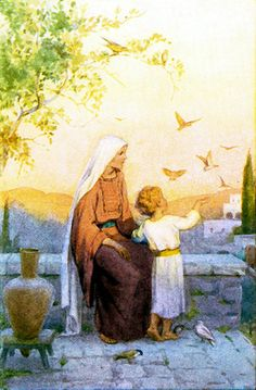 Madonna - Mary & Jesus - by Margaret Tarrant by Waiting For The Word, Catholic Art, Religious Art, Queen Of Heaven, Mama Mary, Religious Pictures, Sainte Marie, Blessed Mother Mary, Virgin Mary, Mary And Jesus