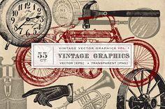 55 Vintage Vector Graphics from DesignBundles.net