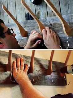 Turn your wooden hangers into cool coat hooks. What a great idea, a hook for coats and hats!