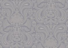 Malabar (95/7042) - Cole & Son Wallpapers - A detailed metallic silver design of paisley fan shapes on a soft lavender base. Perfect for feature walls – available in other colours. Please ask for a sample for true colour. Paste-the-wall product.