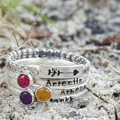 Personalized mothers stacking rings, birthstone rings, handstamped ring, arrow ring, name ring, sterling silver, push gift, mother to be