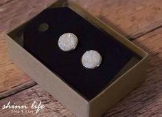 White Druzy Stud Earrings - Silver Bezeled Edge or Plain, Great Bridesmaid Gift!