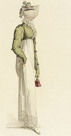 1814 Cream Dress, bonnet, olive green spencer, and reticule. collectionsonline.lacma.org
