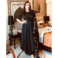 black georgette designer party wear girlish gown decked with matching color raw silk bottom and georgette thread heavy embellished dupatta. Designer Party Wear Dresses, Kurti Designs Party Wear, Indian Gowns Dresses, Pakistani Dresses, Black Pakistani Dress, Indian Wedding Outfits, Indian Outfits, Anarkali Dress, Lehenga