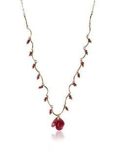 """Wendy Mink Jewelry   Asymmetric Drop Necklace, Gold/Multi-Stones  Delicate sterling silver necklace, asymmetrical design,  Ruby, Garnet, logo medallionDimensions: length 15"""", height 0.4"""", width 1""""Chain type: CableClasp: Lobster claw claspCountry of origin: United States"""