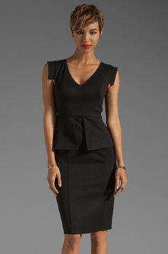Black Halo Keyton Color Blocked Dress in Black & Black | REVOLVE