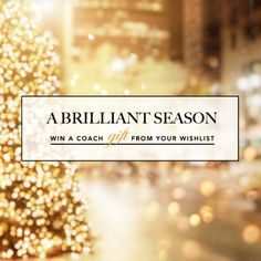 Have a very happy holiday and #ABrilliantSeason with Coach: click above for your chance to win a Coach gift from your Wishlist!