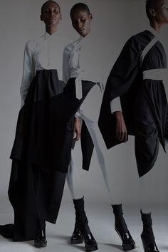 Vintage Jean Paul Gaultier Wrap Shirt and Tuxedo Sarong, Azzedine Alaia Leggings. Designer Clothing Dark Minimal Street Style Fashion... - Total Street Style Looks And Fashion Outfit Ideas