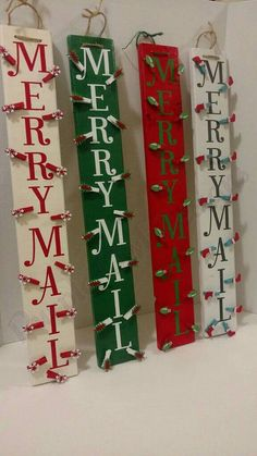 Merry Mail Wood Christmas Card Holders by PurpleOwlDesigns1 Christmas card holder