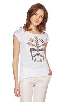 Vendita Sinéquanone / 26169 / Maglie e bluse / Maglie a maniche corte e lunghe / T-Shirt con Effetto Fiammato Bianco e Rosa