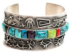 Navajo artist Philander Begay | The Path of the People Cuff. Sterling silver, multistone.