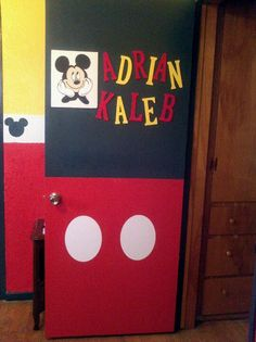 My son's door to his bedroom.  I used chipboard letters and painted them with acrylic paints, but I recommend u sand it first if they are already glossy painted.  The Mickey Mouse was cut out from a CriCut machine at my neighborhood scrapbook store. I later bought a foam board from the DollarTree and cut to size with a craft knife.  What do you think? #scrappinfrine  #mickeythemouse #mickeymousedoor