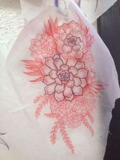 New succulent tattoo outline tatoo 26 Ideas - Modern Large Tattoos, Up Tattoos, Flower Tattoos, Body Art Tattoos, Sleeve Tattoos, Cool Tattoos, Tattoo Outline, Tatoo Art, Pretty Tattoos