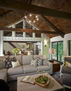7 Ceilings Design Ideas For 2018 - Ceiling design Cottage Kitchen Decor, Cottage Living Rooms, Home And Living, Living Room Decor, Rustic Cottage, Small Living, Cottage Decorating, Cottage Style, Decorating Ideas