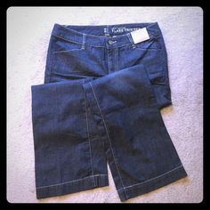 Denim Flare Leg Trouser New with tags. Flat pockets on back. Flare leg jeans from NY&Co. New York & Company Jeans Flare & Wide Leg