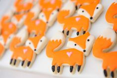 Floral fox birthday party cookies! See more party planning ideas at CatchMyParty.com!
