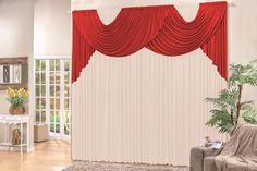 cortina com bandô livia 2,00x 1,70 p/ quarto e sala vermelho