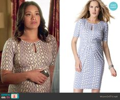 Jane's printed maternity dress with keyhole front on Jane the Virgin.  Outfit Details: http://wornontv.net/48899/ #JanetheVirgin