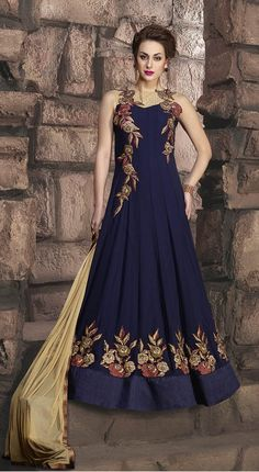 Buy Party Wear Blue Frock Suit online (SKU Code : at Ishimaya. Latest party wear anarkali suits, designer shalwaar suits online, designer frock suits and more for Eid parties, friends & family wedding functions. Designer Anarkali, Designer Gowns, Indian Designer Wear, Indian Gowns, Indian Attire, Indian Sarees, Indian Wear, Pakistani, Indian Wedding Outfits