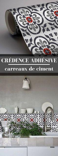 Une crédence adhésive carreaux de ciment ! Une idée simple, tendance et économique pour relooker une cuisine.