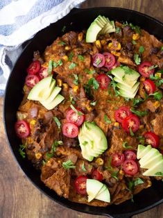This vegan chilaquiles with mole recipe is a delicious way to use up extra tortilla chips and empty out the leftovers from your refrigerator! This version is made with a homemade mole sauce, black beans and corn, and topped with avocado, cilantro and fresh tomatoes! Mexican Dishes, Mexican Food Recipes, Ethnic Recipes, Gluten Free Recipes, Vegan Recipes, Mole Recipe, Chilaquiles Recipe, Mole Sauce, Mole