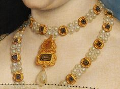 Necklace detail from the portrait of Jane Seymour by Hans Holbein the Younger.  #JaneSeymour #HansHolbein #VonGiesbrechtJewels