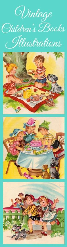 FREE fun vintage children's book printables.  These would look cute framed in a baby's or toddler's room.