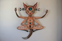 "Hopi Dream ""Levitate being""acrylic and resin on wood by Peca"
