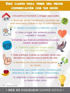Te compartimos esta pequeña infografía sobre las 10 claves para tener una mejor comunicación con tus hijos: #SomosunEquipounaFamilia #SemperAltius