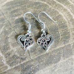 Heart Earrings - Tibetan Silver - Dangle - Love by BohemianHeartery on Etsy