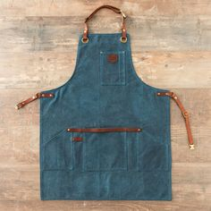 Alaskan Maker No 547 Cotton Coated Thick Canvas Apron - Trouva Waxed Canvas, Canvas Leather, Cotton Canvas, Cuir Vintage, Leather Apron, Aprons For Men, Apron Pockets, Old Jeans, Peacock Blue