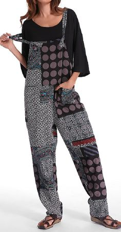 US$ 19.86 Gracila Polka Dot Print Patchwork Pocket Loose Jumpsuit For Women