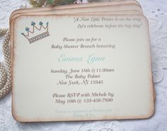 Baby Shower Invitation - Birthday - Customized - Baby Boy - Prince -  Crown - Boy-  Set of 10. $22.50, via Etsy.