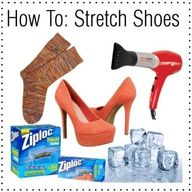 how to stretch out shoes that are a half size too small   1.Fill the plastic bag about a third to half way full.    2.Let out as much air as possible from the bag.    3.Insert plastic bag of water into problem area of shoe.   4.Freeze the shoe overnight.   5.Let ice thaw for about 20 minutes before removing from shoe.   6.Try on and repeat if necessary.   7.Enjoy your beautiful, comfy shoes!