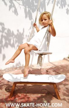 Skate-Home, The most diverse line of skateboard furniture available. www.skate-home.com (stool and swing skate)