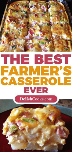 Farmer's Casserole: 1 TB oil cook 6 cups of diced potatoes until lightly brown. Place the potatoes in the casserole. Top with 6 slices ham/c. Bacon Recipes, Ww Recipes, Brunch Recipes, Breakfast Recipes, Cooking Recipes, Healthy Recipes, Healthy Food, Recipies, Diced Ham Recipes