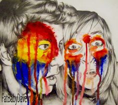 Pencil, oil paint, a4.Me and my friend Jenny. A rainbow smacked us in the face.