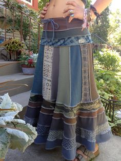 Eco long boho SKIRT, clothing, upcycled, patchwork, festival, hippie, camo, blue and gray mix. GROSS.