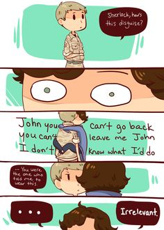 """ineffableboyfriends: For thebibliophilicdraconic as a part of the johnlock gift exchange hosted by johnlockchallenges: """"Sherlock seeing John in uniform for the first time."""" Hope you like it and sorry that it's not super creative. Johnlock, Destiel, Sherlock Holmes Bbc, Sherlock Fandom, Sherlock John, Sherlock Quotes, Funny Sherlock, Watson Sherlock, Jim Moriarty"""