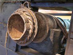 A wrought iron cannnon. Found 1981 in the wrek of a sunken sailing boat of the 17th century in river Elbe near Wittenbergen in Hamburg-Rissen, Germany. Photographed at Museum für Hamburgische Geschichte, Hamburg, Germany