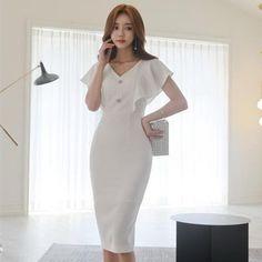 392afdc70 Women Vintage Pencil Dress Butterfly Sleeve V-neck Midi Dress Elegant Office  Ladies Dresses