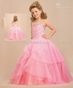 Wholesale New arrival pink princess halter ballgown paillettes floor length Fower Girl Dress Custom-made 2012, Free shipping, $78.4-92.96/Piece | DHgate