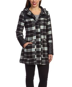 Another great find on #zulily! Black & Blue Plaid Toggle Coat by Yoki #zulilyfinds