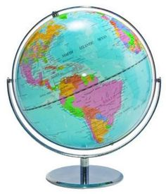 Advantus 12-Inch Globe with Blue Oceans, Silver-Toned Metal Desktop Base,Full-Meridian.  Use this in the classroom to teach children geography, social studies, oceanography and many other subjects. The meridian and base let you quickly rotate to any point.